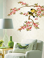cheap -Peach Blossom Branch Bird Wall Stickers Bedroom Living Room Removable PVC Home Decoration Wall Decal 1pc