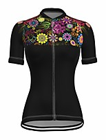 cheap -21Grams Women's Short Sleeve Cycling Jersey Summer Spandex Black Floral Botanical Bike Top Mountain Bike MTB Road Bike Cycling Quick Dry Moisture Wicking Sports Clothing Apparel / Stretchy
