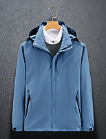 cheap -Men's Hoodie Jacket Hiking Jacket Hiking Windbreaker Outdoor Solid Color Thermal Warm Waterproof Windproof Quick Dry Outerwear Trench Coat Top Full Length Visible Zipper Skiing Ski / Snowboard Fishing