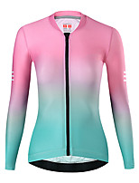 cheap -21Grams Women's Long Sleeve Cycling Jersey Spandex Red Pink Gradient Bike Top Mountain Bike MTB Road Bike Cycling Quick Dry Moisture Wicking Sports Clothing Apparel / Stretchy / Athleisure