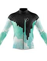 cheap -21Grams Men's Long Sleeve Cycling Jersey Spandex Polyester Blue Green Color Block Funny Bike Top Mountain Bike MTB Road Bike Cycling Quick Dry Moisture Wicking Breathable Sports Clothing Apparel