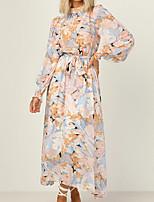 cheap -Women's Swing Dress Maxi long Dress Yellow Long Sleeve Tie Dye Print Fall Round Neck Casual 2021 S M L XL