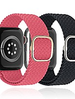 cheap -2pack  solo loop braided band compatible with apple watch bands 38mm 40mm 42mm 44mm, adjustable stretchable elastics sport woven nylon wristband compatible for iwatch series se/6/5/4/3/2/1