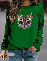 cheap -Women's Sweatshirt Pullover Cat Animal Print Halloween Sports 3D Print Active Streetwear Hoodies Sweatshirts  Green Beige
