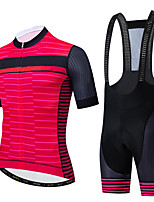 cheap -CAWANFLY Men's Short Sleeve Cycling Jersey with Bib Shorts Summer Rose Red Bike Sports Geometic Mountain Bike MTB Road Bike Cycling Clothing Apparel / Micro-elastic / Athleisure / Triathlon