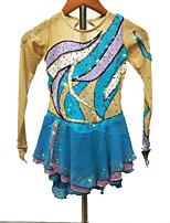cheap -Figure Skating Dress Women's Girls' Ice Skating Dress Blue+Light Blue Spandex High Elasticity Training Competition Skating Wear Handmade Patchwork Crystal / Rhinestone Long Sleeve Ice Skating Figure