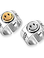 cheap -Unisex Ring Geometrical Silver Gold Alloy Laugh Trendy Cute 1pc Adjustable / Couple's / Open Cuff Ring