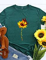 cheap -Women's T shirt Graphic Sunflower Letter Print Round Neck Basic Vintage Tops Regular Fit Blue Blushing Pink Wine