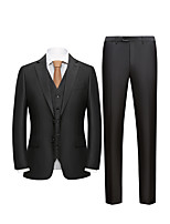 cheap -Men's Wedding Suits 3 pcs Notch Standard Fit Single Breasted Two-buttons Straight Flapped Solid Colored Polyester