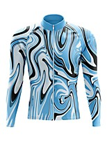 cheap -21Grams Men's Long Sleeve Cycling Jersey Spandex Polyester Sky Blue Funny Bike Top Mountain Bike MTB Road Bike Cycling Quick Dry Moisture Wicking Breathable Sports Clothing Apparel / Stretchy