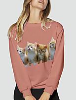 cheap -Women's Sweatshirt Pullover Cat Scenery 3D Print Daily Sports 3D Print Active Streetwear Hoodies Sweatshirts  Yellow Blushing Pink Khaki