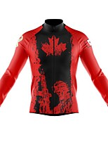cheap -21Grams Men's Long Sleeve Cycling Jersey Spandex Polyester Red White Canada Funny Bike Top Mountain Bike MTB Road Bike Cycling Quick Dry Moisture Wicking Breathable Sports Clothing Apparel