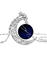 cheap -pendant necklace for women boho 12 constellation necklace crescent moon pendant sterling silver jewelry