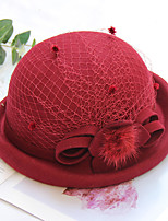cheap -Women's Party Hat Party Wedding Special Occasion Flower Flower Wine Camel Hat Black Gray Fall Winter Spring