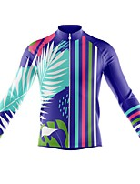 cheap -21Grams Men's Long Sleeve Cycling Jersey Spandex Polyester Royal Blue Stripes Leaf 3D Bike Top Mountain Bike MTB Road Bike Cycling Quick Dry Moisture Wicking Breathable Sports Clothing Apparel