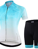 cheap -21Grams Women's Short Sleeve Cycling Jersey with Shorts Summer Spandex Blue+White Polka Dot Gradient Bike Quick Dry Moisture Wicking Sports Polka Dot Mountain Bike MTB Road Bike Cycling Clothing