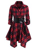 cheap -Women's A Line Dress Short Mini Dress Dark Green Black Red Long Sleeve Plaid Button Fall Shirt Collar Casual 2021 S M L XL XXL / Cotton