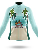 cheap -21Grams Men's Long Sleeve Cycling Jersey Spandex Polyester Sky Blue Cartoon Funny Palm Tree Bike Top Mountain Bike MTB Road Bike Cycling Quick Dry Moisture Wicking Breathable Sports Clothing Apparel