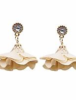 cheap -women vintage rhinestone flower dangle earrings fabric flower petals drop earrings,khaki