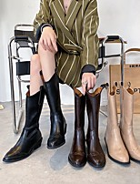 cheap -Women's Boots Round Toe PU Solid Colored Khaki Black Brown