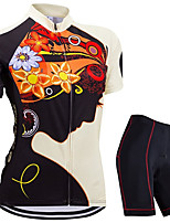 cheap -21Grams Women's Short Sleeve Cycling Jersey with Shorts Summer Spandex Polyester Black / Yellow Floral Botanical Funny Bike Clothing Suit 3D Pad Quick Dry Moisture Wicking Breathable Back Pocket