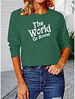 cheap -Women's Painting T shirt Text Long Sleeve Round Neck Basic Tops Cotton Blue Yellow Green