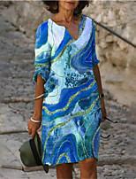 cheap -Women's A Line Dress Knee Length Dress Blue Khaki Green 3/4 Length Sleeve Print Print Summer V Neck Casual 2021 S M L XL XXL 3XL 4XL 5XL