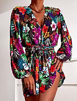 cheap -Women's A Line Dress Short Mini Dress Yellow Red Long Sleeve Floral Jacquard Fall Summer V Neck Casual 2021 S M L XL XXL