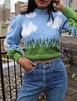 cheap -Women's Pullover Sweater Modern Style sky Cloud Active Cosplay Long Sleeve Sweater Cardigans Round Neck Fall Winter Blue sky and white clouds pattern / Holiday