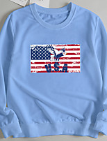 cheap -Women's Pullover Sweatshirt Eagle Flag Print Casual Hot Stamping Casual Hoodies Sweatshirts  Loose Wine Red Blushing Pink Red