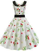 cheap -Women's A Line Dress Midi Dress Blushing Pink Wine Green White Black Red Sleeveless Floral Polka Dot Plaid Print Fall Summer Round Neck Casual 2021 S M L XL XXL