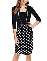 cheap -Women's Sheath Dress Knee Length Dress Black Half Sleeve Polka Dot Houndstooth Patchwork Print Fall Round Neck Work Elegant Casual 2021 S M L XL XXL XXXL 4XL 5XL