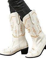 cheap -Women's Boots Block Heel Round Toe Rubber PU Color Block Light Brown Dark Brown White