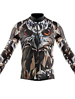 cheap -21Grams Men's Long Sleeve Cycling Jersey Spandex Polyester Grey 3D Eagle Funny Bike Top Mountain Bike MTB Road Bike Cycling Quick Dry Moisture Wicking Breathable Sports Clothing Apparel / Stretchy