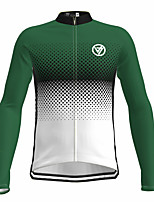 cheap -21Grams Men's Long Sleeve Cycling Jersey Spandex Green Gradient Bike Top Mountain Bike MTB Road Bike Cycling Quick Dry Moisture Wicking Sports Clothing Apparel / Athleisure