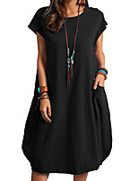 cheap -Women's A Line Dress Short Mini Dress White Black Dark Blue Short Sleeve Solid Color Modern Style Summer Round Neck Casual 2021 S M L XL XXL XXXL