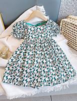 cheap -[18m-7y]girls fresh sweet puff sleeve floral dress