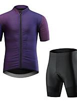 cheap -CAWANFLY Men's Short Sleeve Cycling Jersey with Shorts Summer Purple Bike Sports Geometic Mountain Bike MTB Road Bike Cycling Clothing Apparel / Micro-elastic / Athleisure / Triathlon
