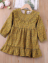cheap -Kids Toddler Little Girls' Dress Graphic Daily Ruffle Print Yellow Cotton Knee-length Long Sleeve Basic Cute Dresses Children's Day Fall Spring 2-6 Years