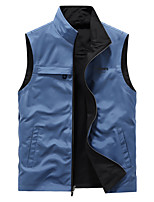 cheap -Men's Jacket Sport Daily Fall Spring Regular Coat Stand Collar Loose Thermal Warm Windproof Breathable Elegant Jacket Long Sleeve Sleeveless Hot Stamping Solid Color Print Blue Green Black