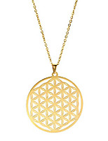 cheap -stainless steel gold flower of life mandala necklace hollow out design round charm chain necklaces for men women teens (style 2)