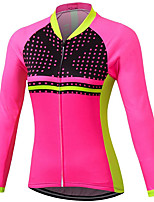 cheap -21Grams Women's Long Sleeve Cycling Jersey Spandex Polyester Rose Red Polka Dot Funny Bike Top Mountain Bike MTB Road Bike Cycling Quick Dry Moisture Wicking Breathable Sports Clothing Apparel