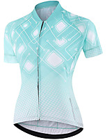 cheap -21Grams Women's Short Sleeve Cycling Jersey Summer Spandex Polyester Blue Polka Dot Funny Bike Top Mountain Bike MTB Road Bike Cycling Quick Dry Moisture Wicking Breathable Sports Clothing Apparel