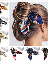 cheap -7 Pcs/set Chiffon Bowknot Elastic Hair Bands For Women Girls Solid Color Scrunchies Headband Hair Tie Ponytail Holder Hair Accessories