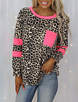 cheap -Women's T shirt Leopard Long Sleeve Pocket Patchwork Print Round Neck Basic Tops Brown