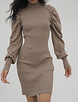 cheap -Women's Wrap Dress Knee Length Dress Red Brown Blushing Pink khaki Black Apricot Long Sleeve Solid Color Modern Style Fall Winter High Neck Casual 2021 One-Size