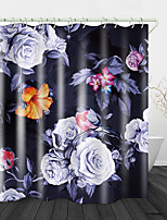 cheap -Beautiful Flowers and Birds Print Waterproof Fabric Shower Curtain for Bathroom Home Decor Covered Bathtub Curtains Liner Includes with Hooks