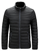 cheap -Men's Sports Puffer Jacket Padded Hiking jacket Winter Outdoor Thermal Warm Windproof Quick Dry Lightweight Outerwear Winter Jacket Trench Coat Skiing Ski / Snowboard Fishing Wine Red turmeric Grey