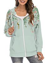 cheap -Women's Hoodie Zip Up Hoodie Sweatshirt Floral Graphic Prints Zipper Print Daily Sports 3D Print Active Streetwear Hoodies Sweatshirts  Green Brown Light Green