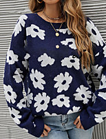 cheap -Women's Pullover Sweater Knitted Floral Stylish Long Sleeve Sweater Cardigans Crew Neck Fall Winter Real shots of Jinyi's independent model Blue / Going out
